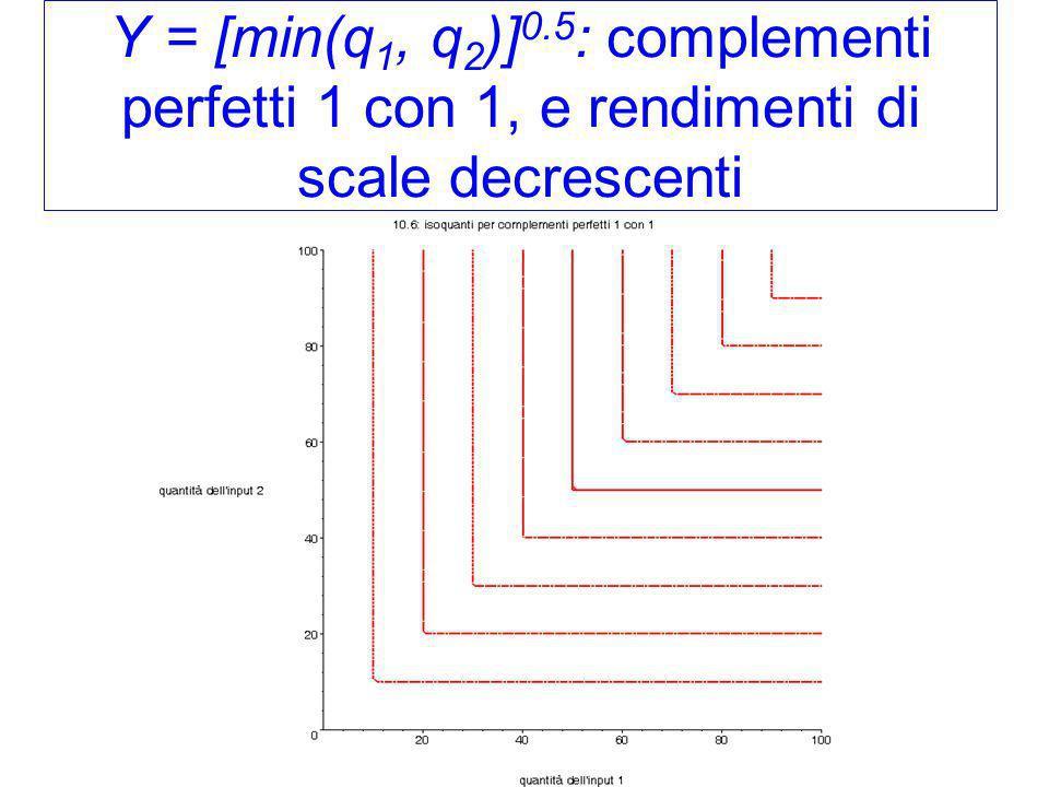 Y = [min(q1, q2)]0.5: complementi perfetti 1 con 1, e rendimenti di scale decrescenti